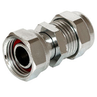 "15mm x 1/2"" compression chrome straight tap connector fitting (Bag of 10=£26.10)"