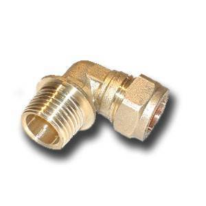 "15mm x 1/2"" compression fitting Elbow Adaptor Male iron (Bag of 10=£12.51)"